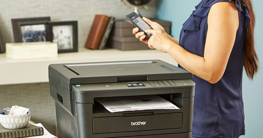woman using phone to print from Brother Wireless Laser Print-Scan-Copy Printer HL-L2395DW