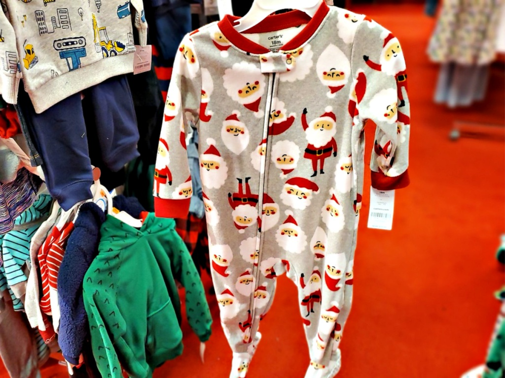 Carter's Baby Boys Santa-Print Fleece Footed Coverall