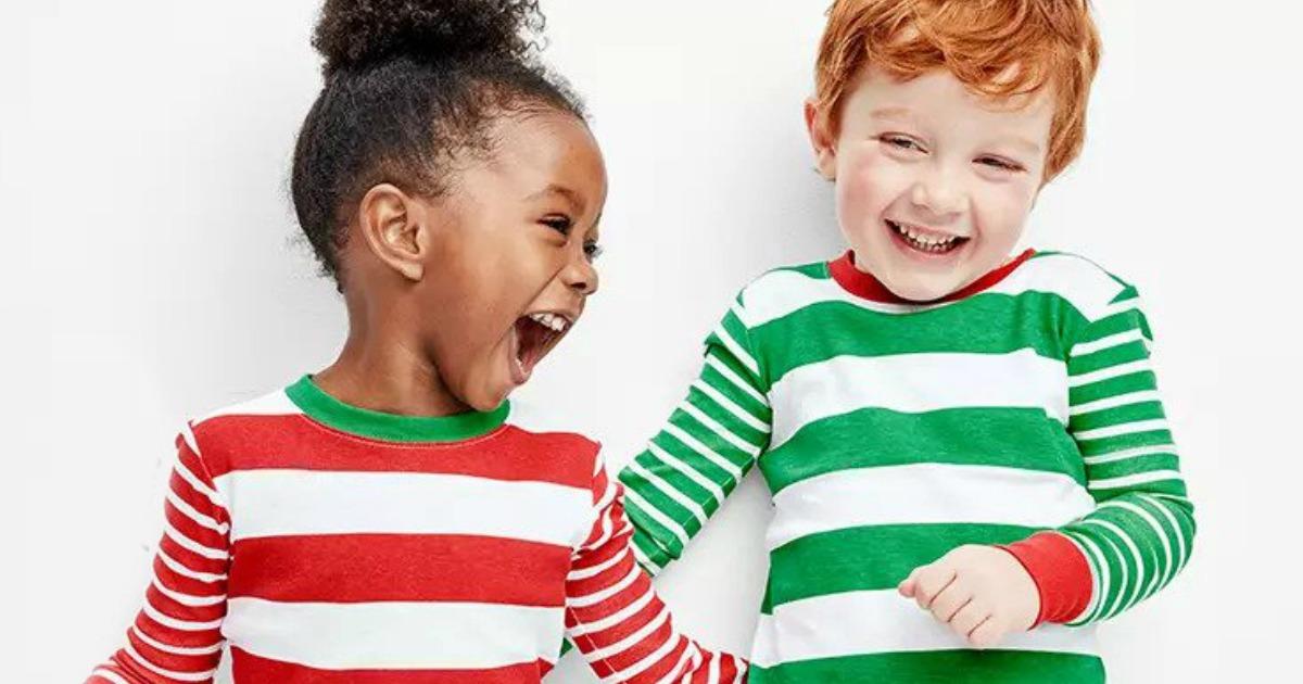kids wearing Carter's Holiday Pajamas