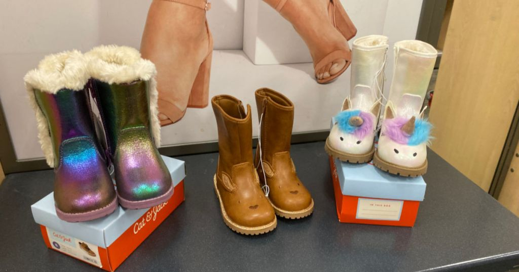 Cat & Jack Girls unicorn, brown, and iridescent Boots in store