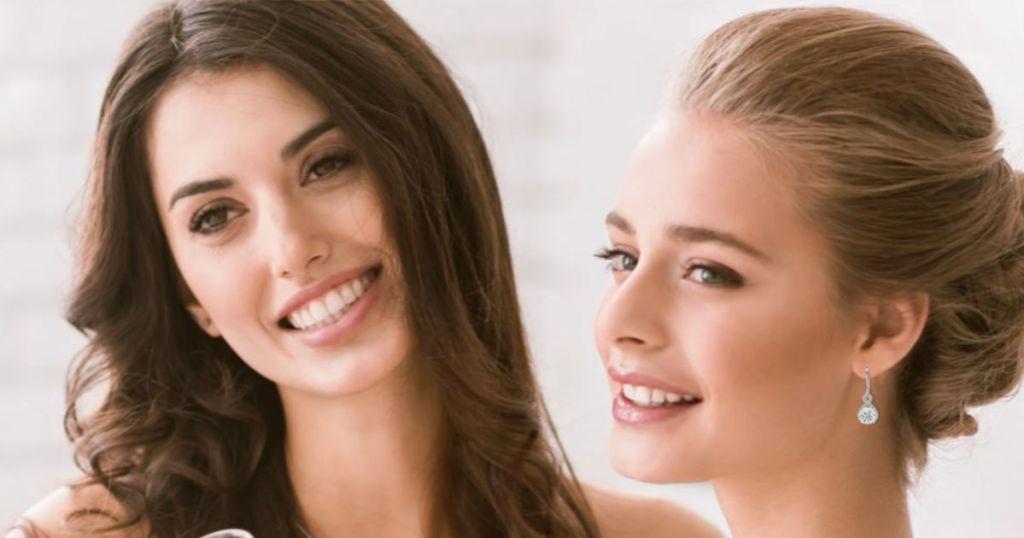 woman wearing Cate & Chloe Alessandra Vision Earrings