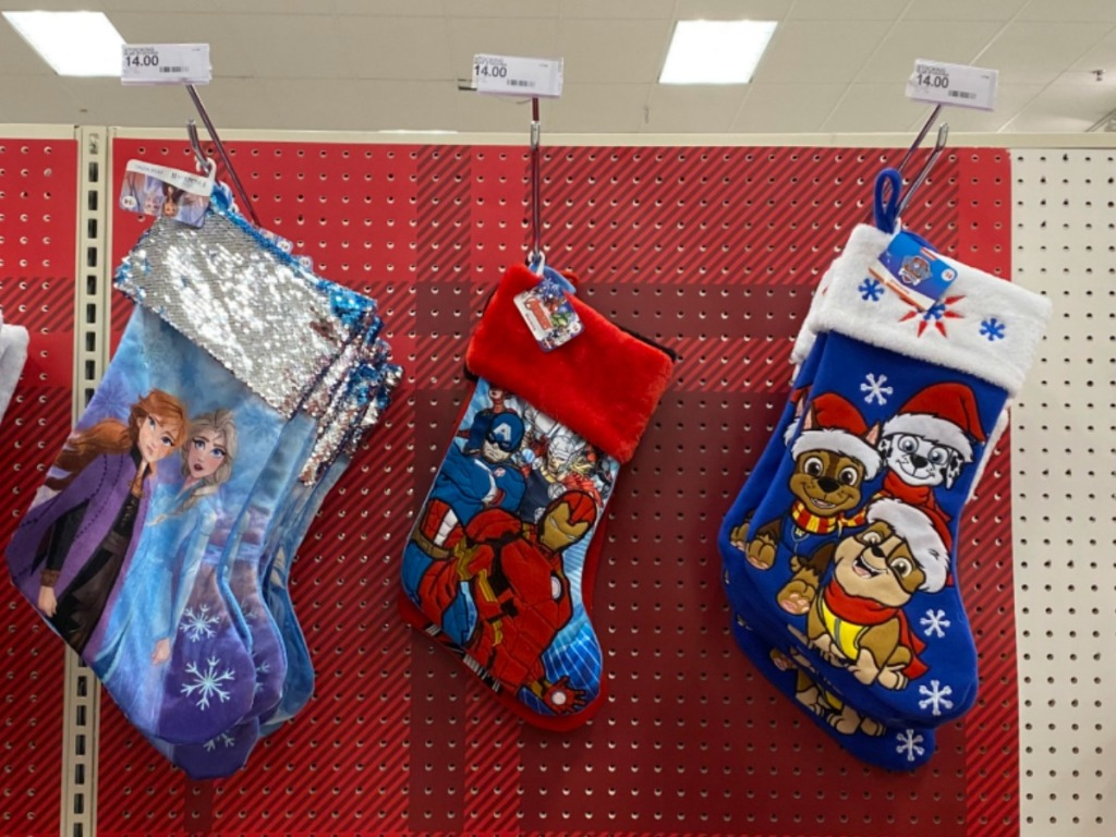 Character Stockings on display at Target