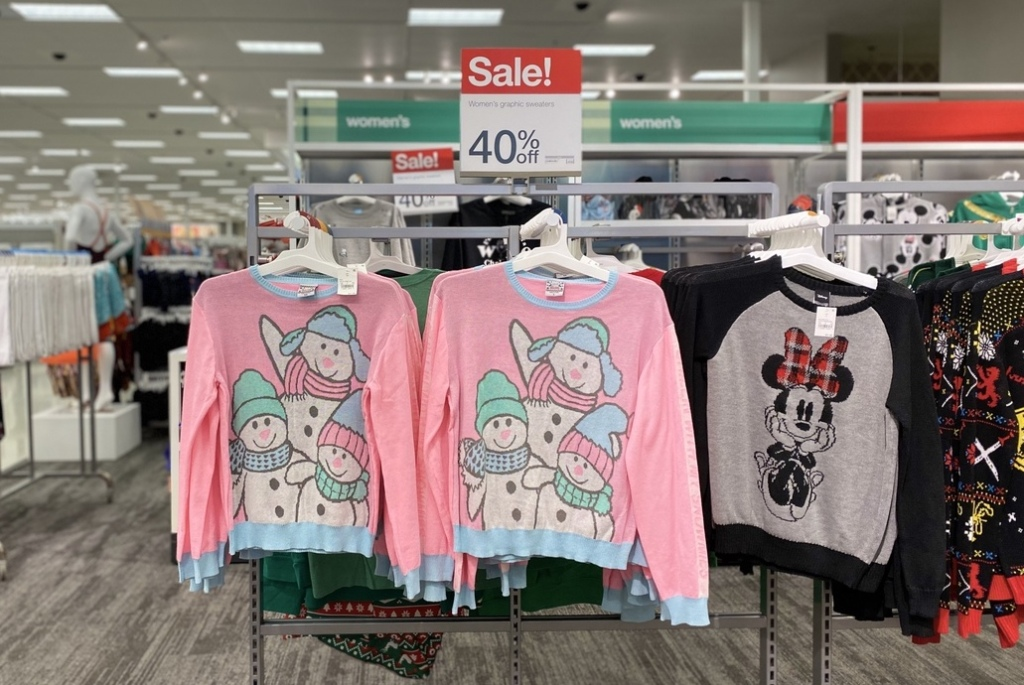 Chillin with my Snowmies Ugly Sweater on display at Target