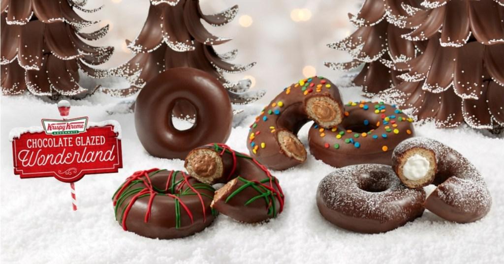 chocolate glazed holiday doughnuts from Krispy Kreme