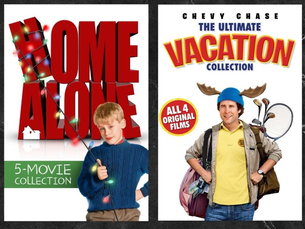 Two Christmas Movie Collections in case on black background
