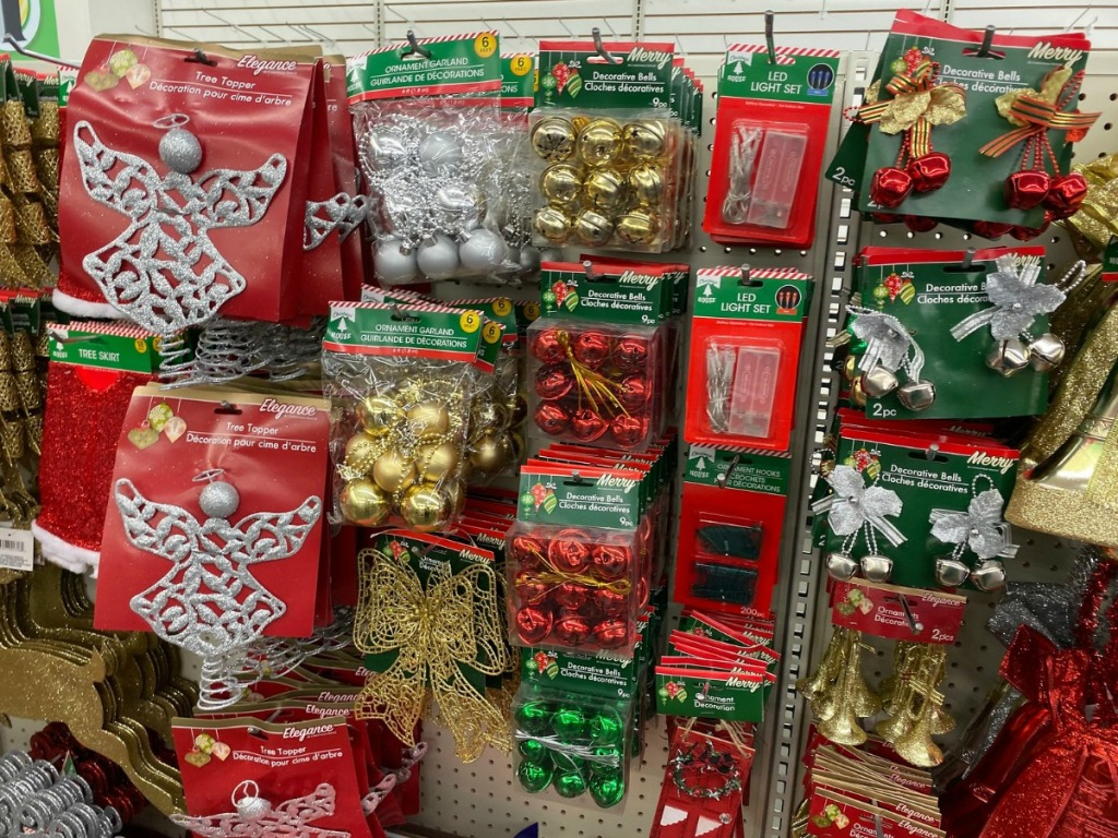 Christmas decorations on display at Dollar Tree
