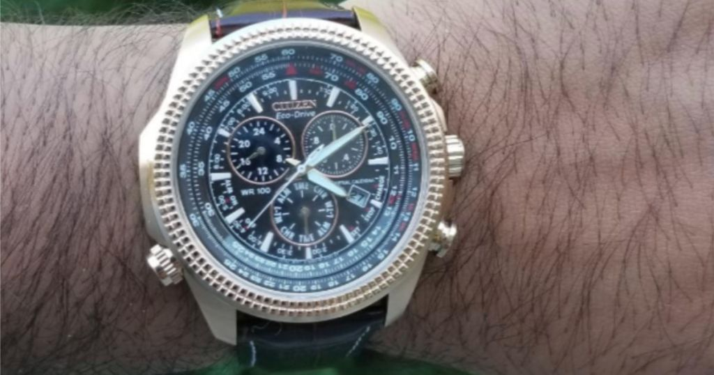 Citizen Men's Eco-Drive Chronograph Watch with Perpetual Calendar and Date on mans wrist