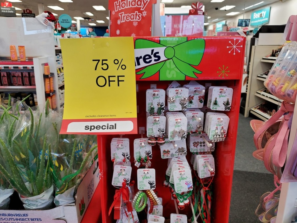 Claire's Earrings at CVS with sale sign