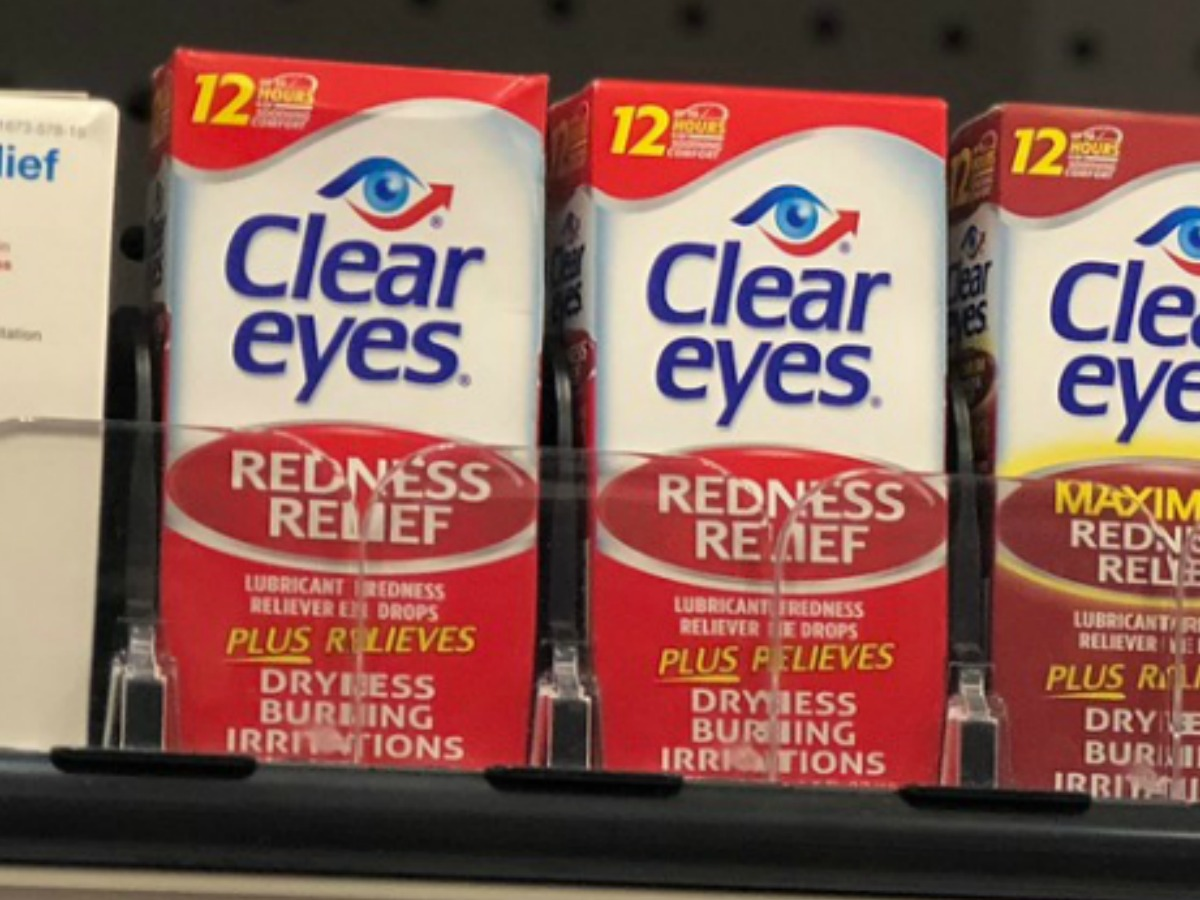 Clear Eyes Redness Relief drops in package on display
