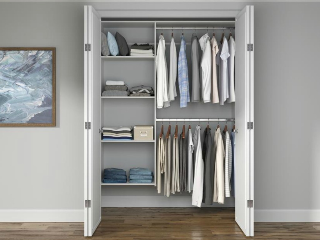 Organized closet with men's clothes