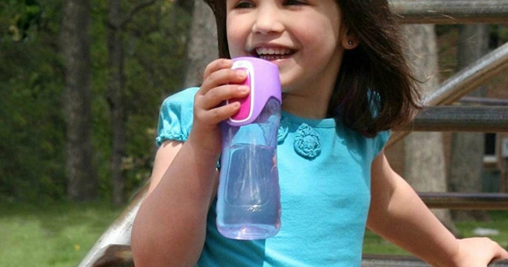 Girl drinking from a purple Contigo Autoseal Kids water bottle
