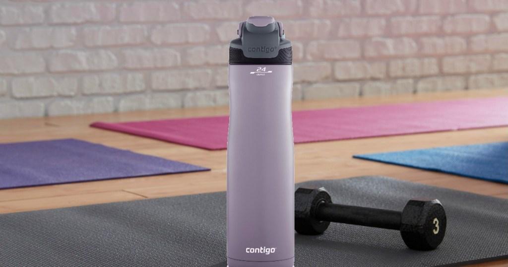 Contigo Water Bottle next to exercise mat