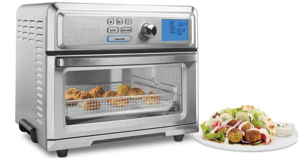 Cuisinart digital air fryer next to plate of food
