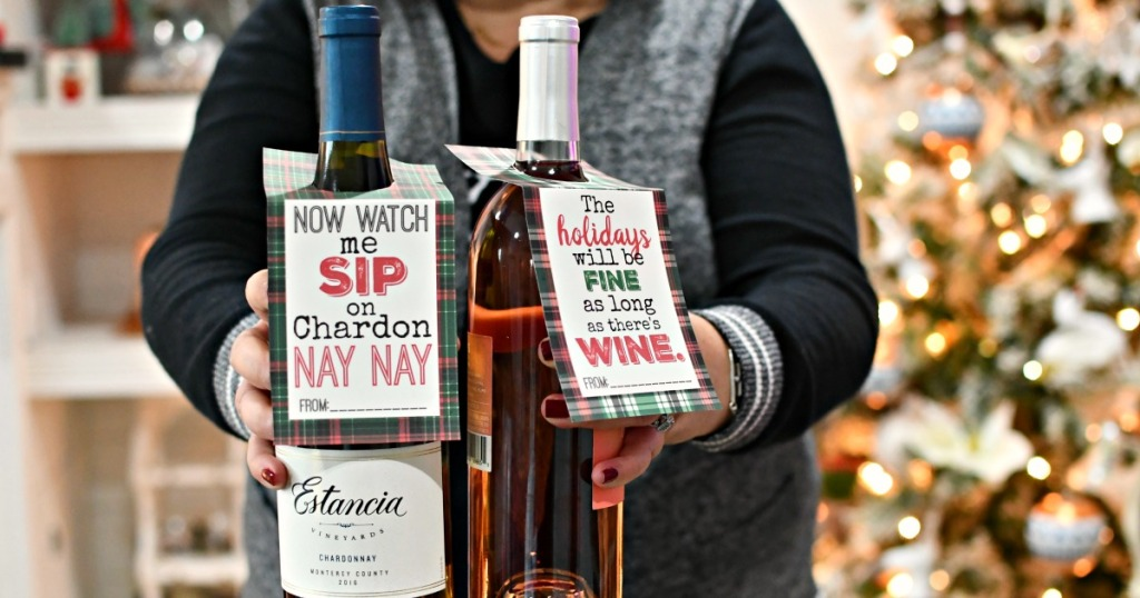 wine gift idea with free printable tags