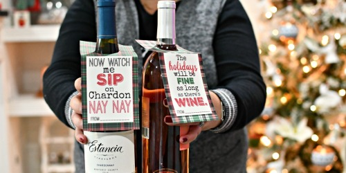 Free Printable Christmas Wine Tags—Easy Hostess or Neighbor Gift Idea!
