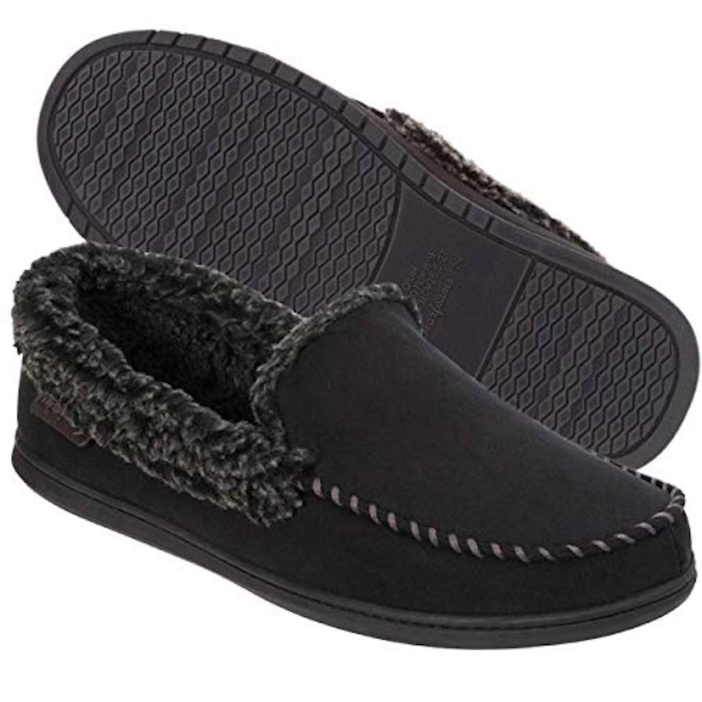 black Dearfoams Men's Moccasin with Whipstitch Slipper