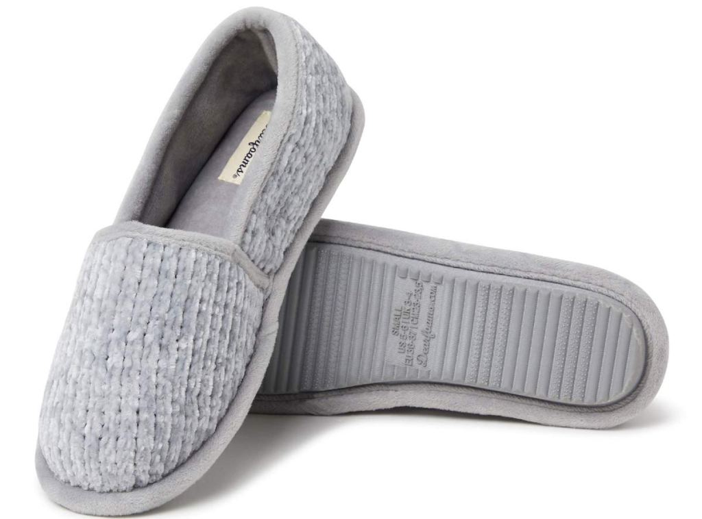 grey Dearfoams Women's Chenille A-line Slipper