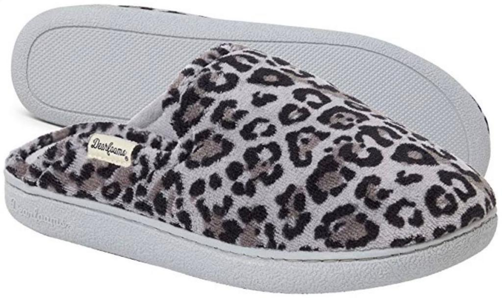 leopard print Dearfoams Women's Terry Scuff with Quilted Sock Slipper