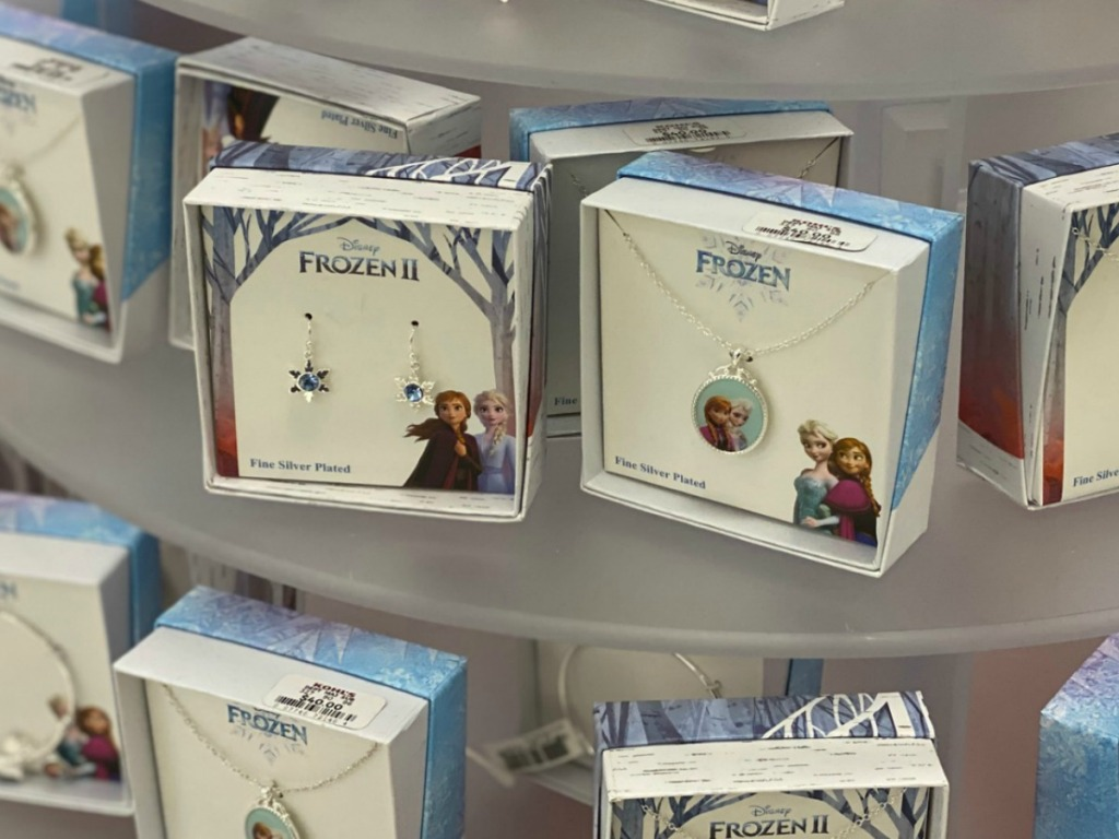 Disney frozen themed jewelry on in-store display at Kohl's