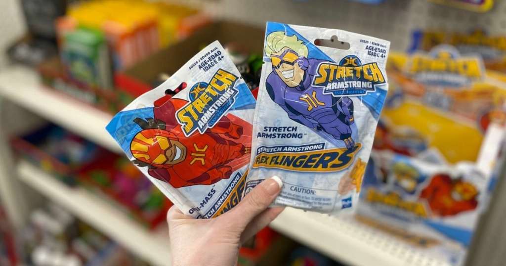 Dollar Tree Stretch Armstrong Flingers in hand in package