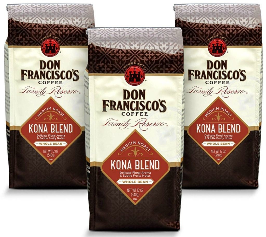 Don Francisco's whole bean coffee in packages