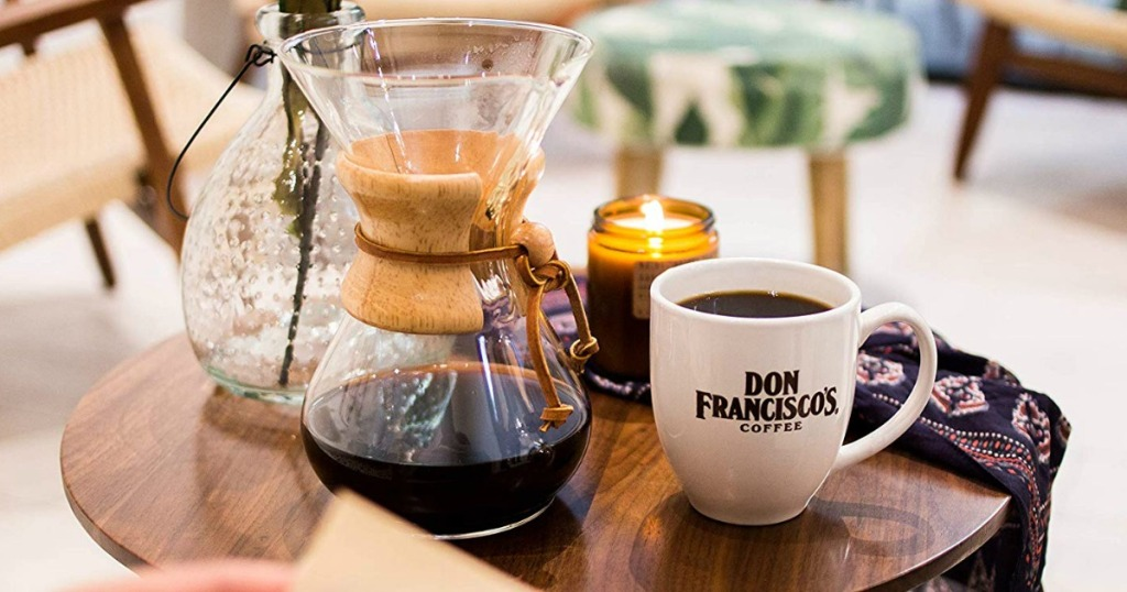 Don Francisco's Coffee in cup near carafe
