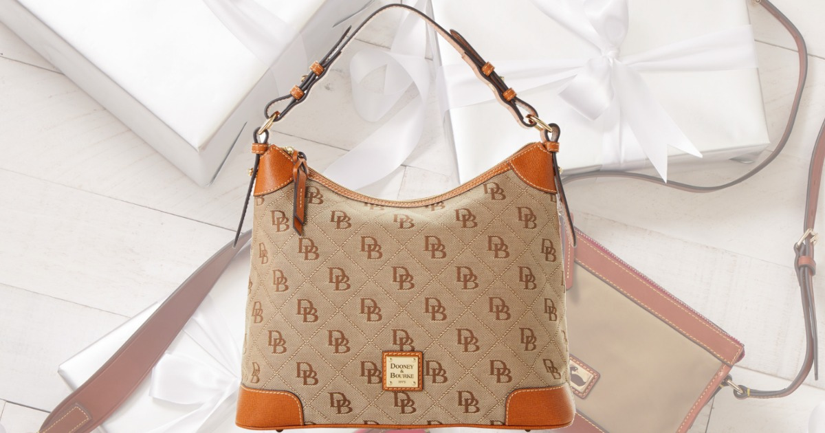 Dooney & Bourke handbag in brown and orange color