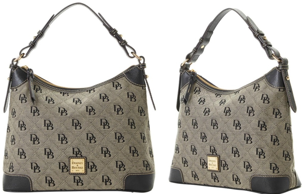 Two angles of a Dooney & Bourke handbag in black