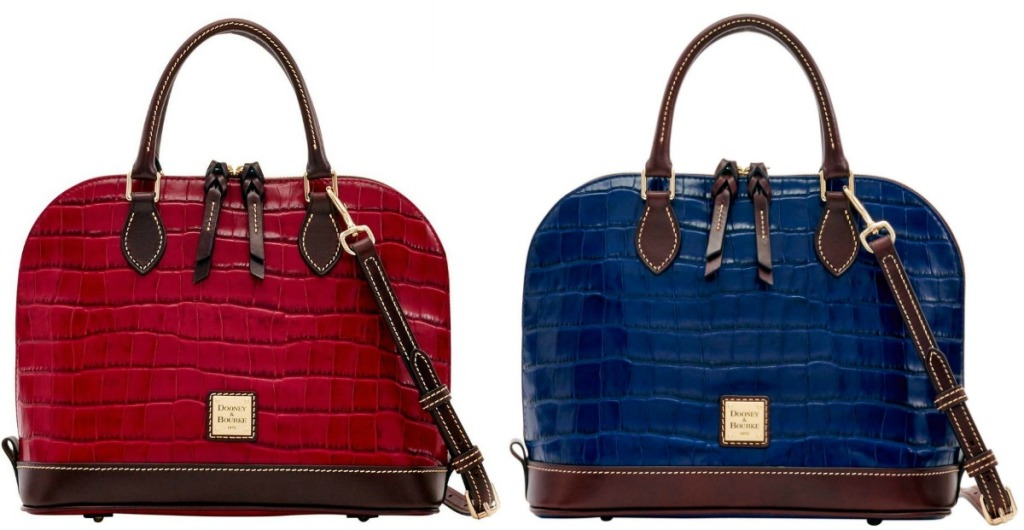 Two styles of satchel luxury handbags - in red and blue