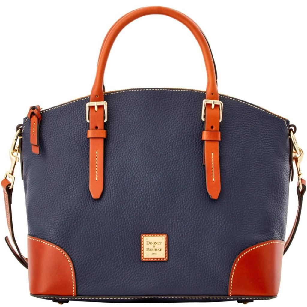 Dooney & Bourke Satchel Handbag in navy and caramel