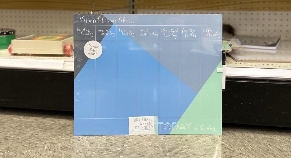 Dry Erase Calendar on floor at Target