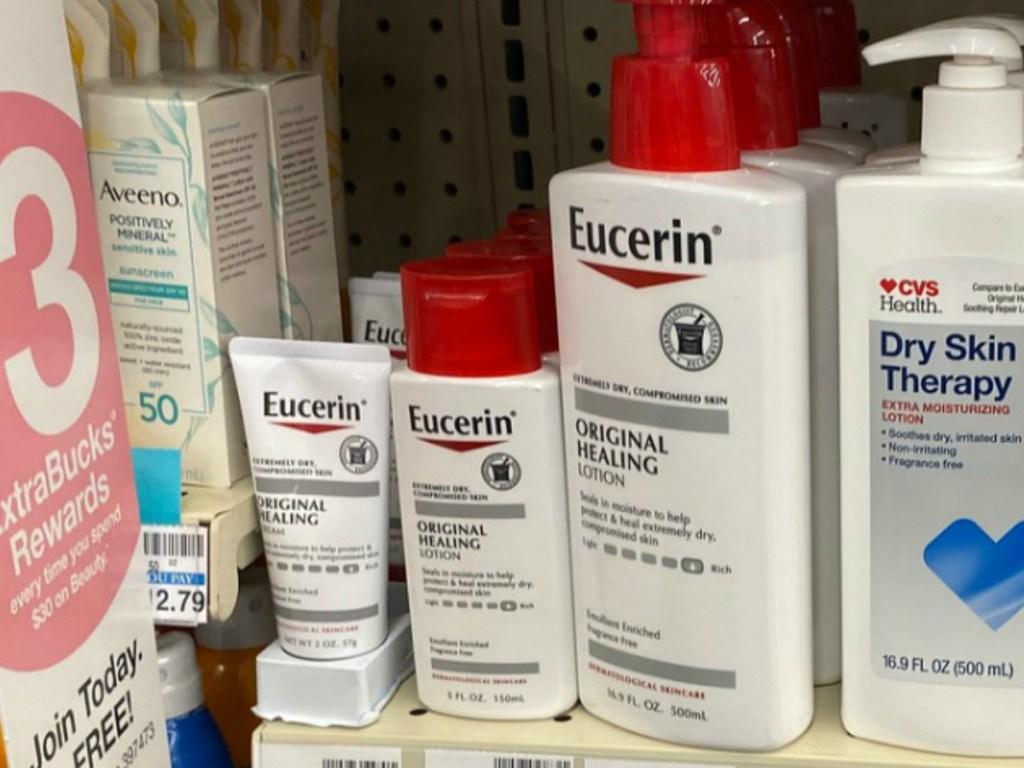 Eucerin Healing Lotion on display in CVS