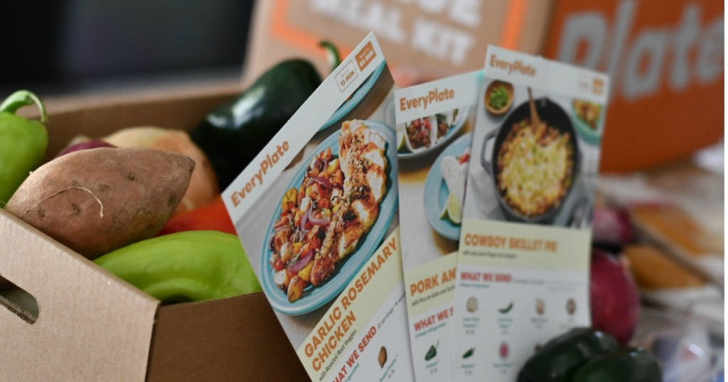 Everyplate box of produce with meal cards