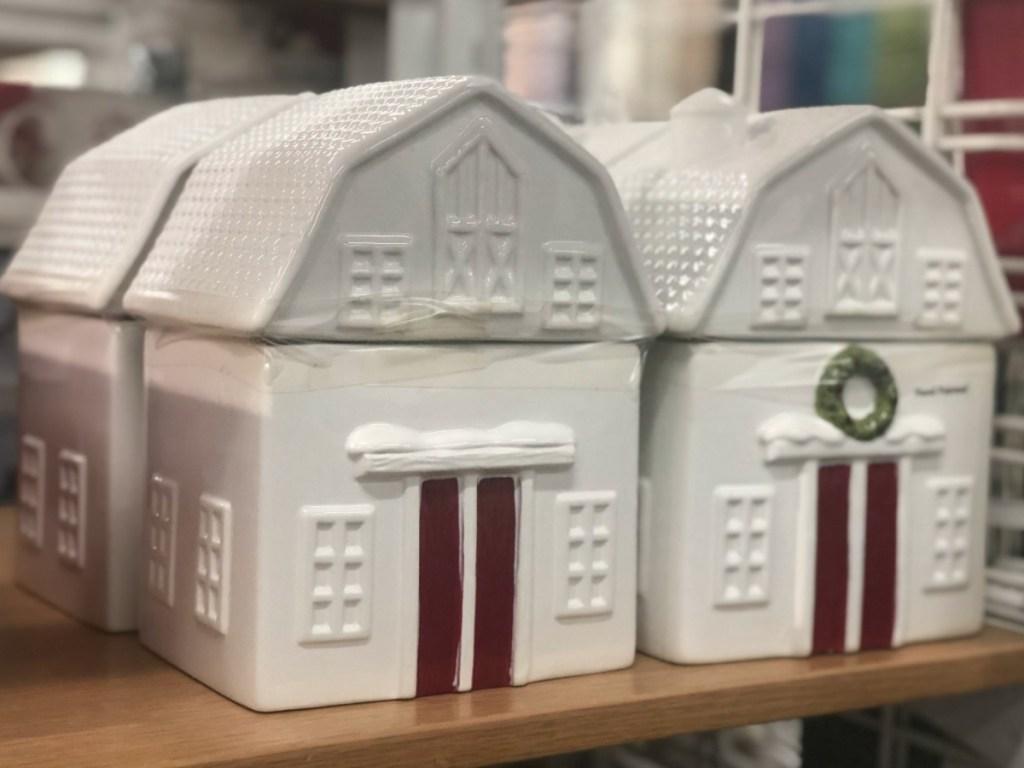 Farmhouse themed cookie jar on display at Kohl's