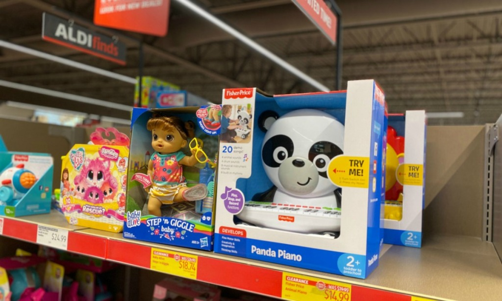 Fisher-Price Panda Piano on shelf in-store