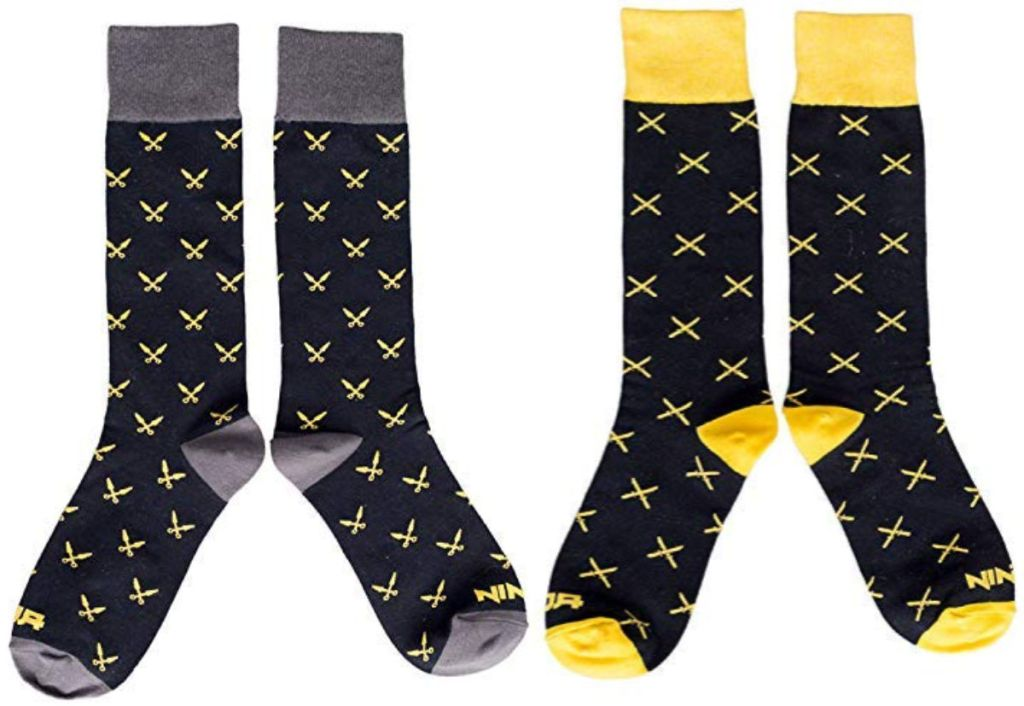 Fornite Ninja Socks in black and yellow and grey