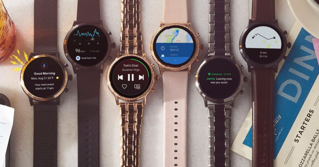 rose gold, black, brown, and stainless steel Fossil Carlyle or Julianna Stainless Steel Gen 5 Smartwatch