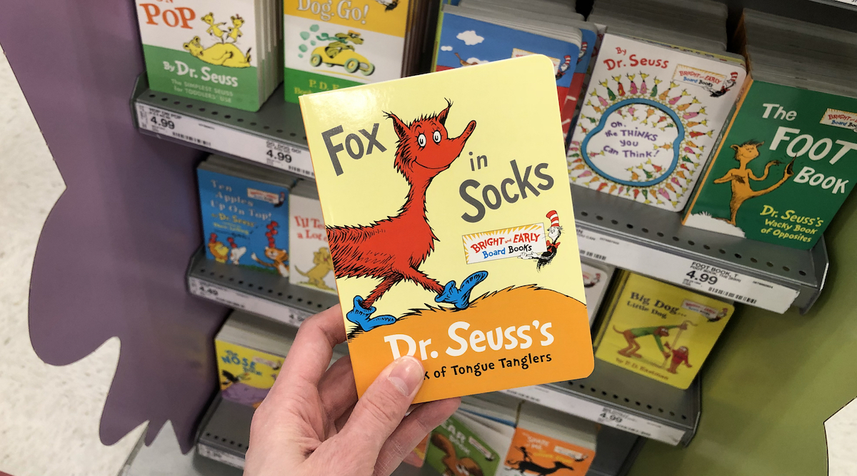 hand holding a Fox in Socks book