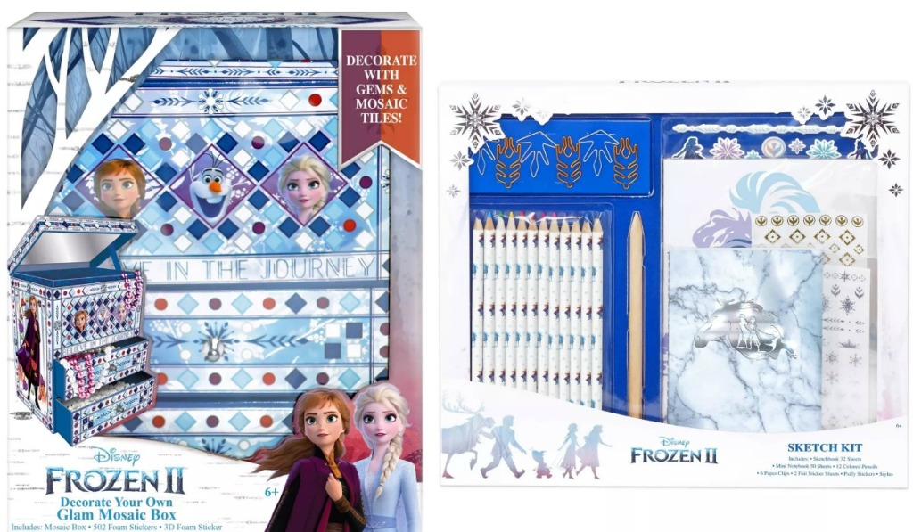 Two Disney Frozen themed art kits in packages
