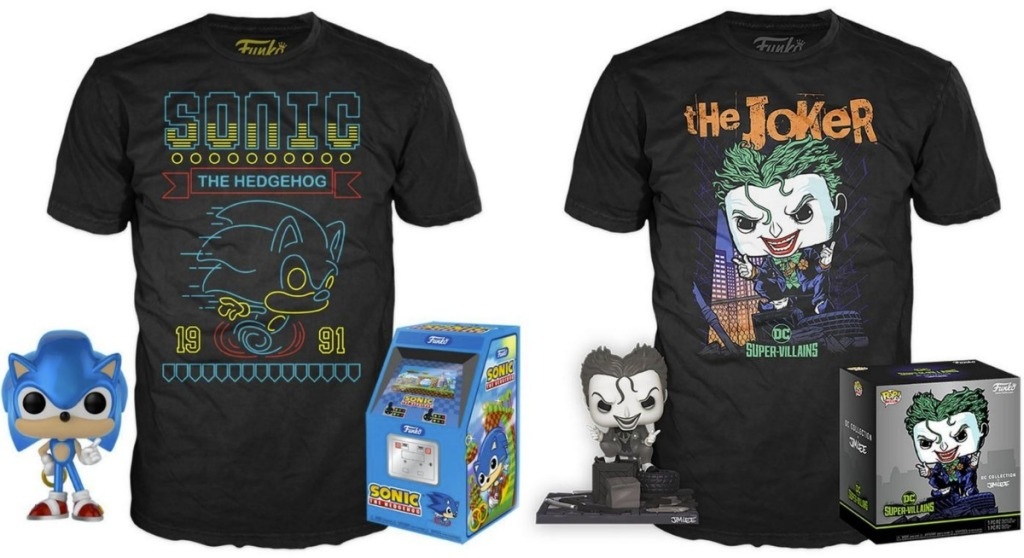 Funko POP figure with tee shirts and gift boxes - Sonic The Hedgehog & The Joker
