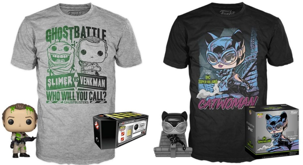 Funko POP! figures with tees and gift boxes