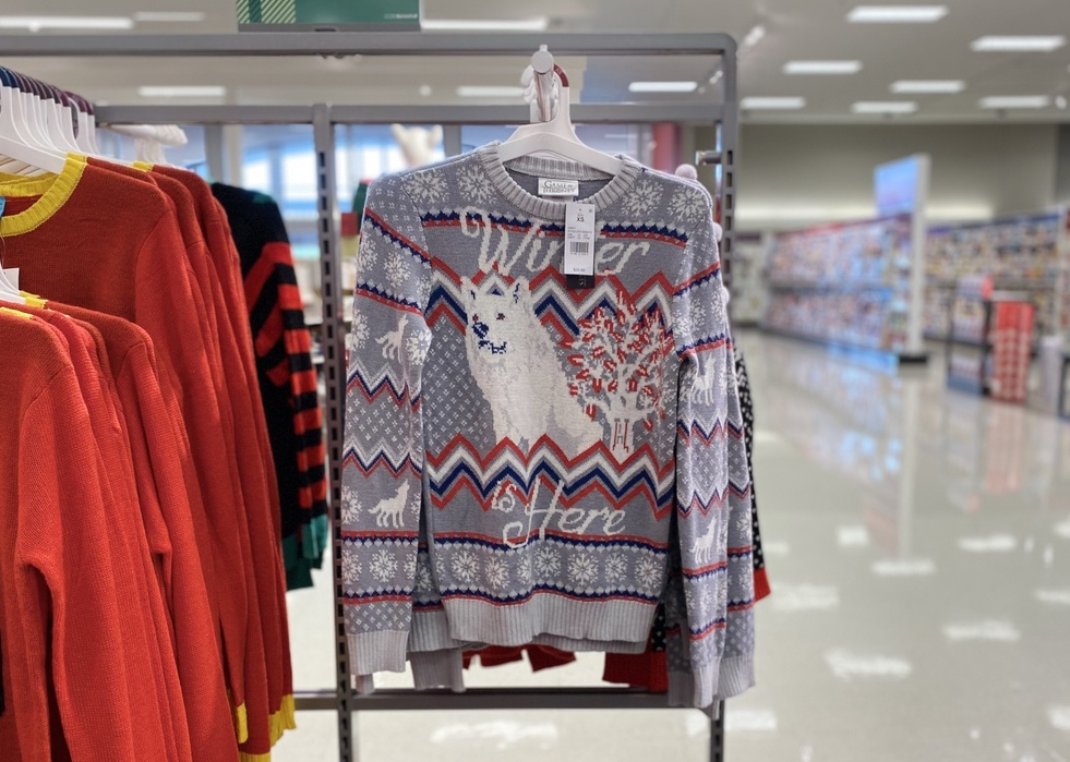 Game of Thrones Ugly Sweater on display at Target