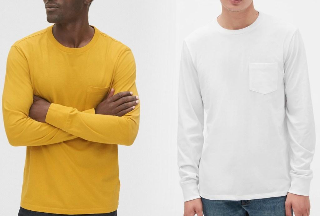 Two men wearing Gap long sleeve tees