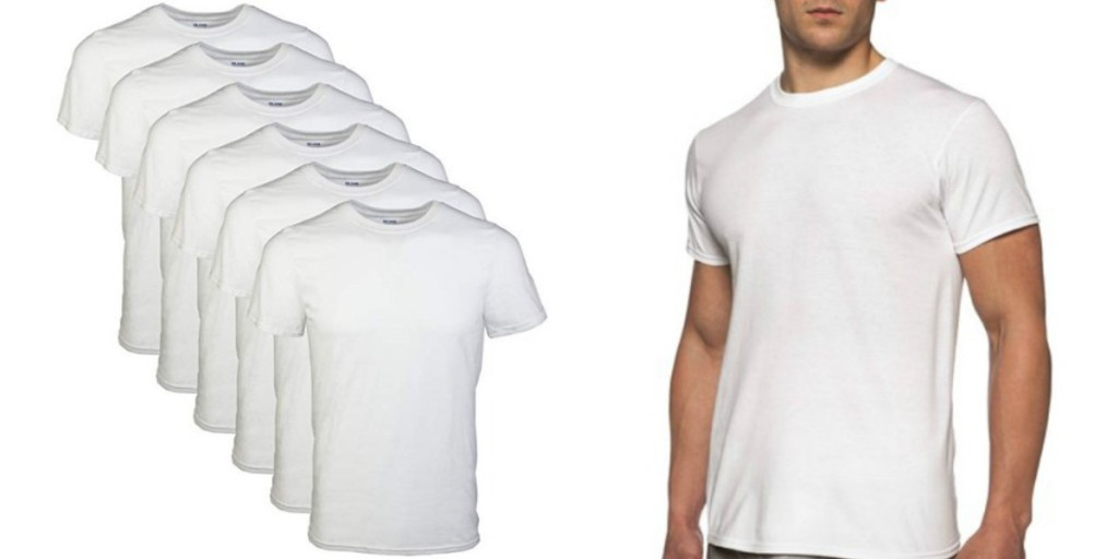 gildan mens white crew neck t-shirts with model