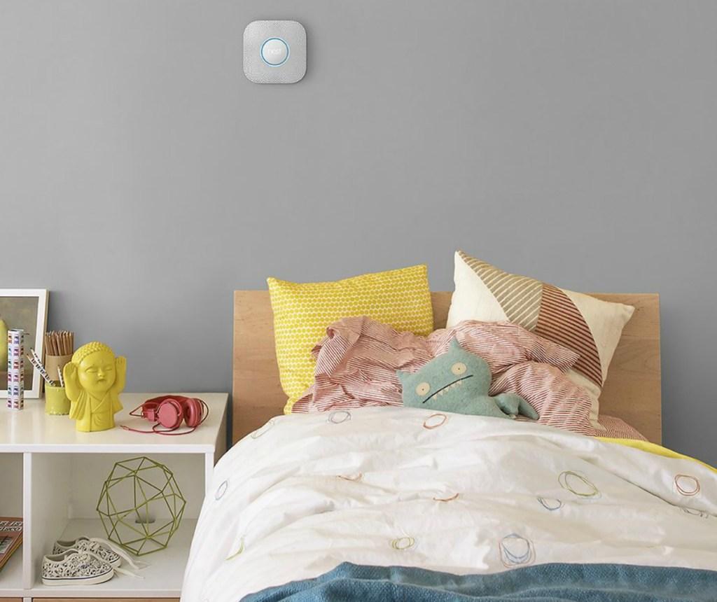 Google Nest on wall in girls bedroom