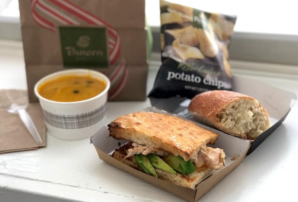 panera sandwich sitting on