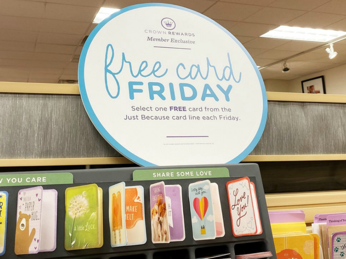 Large in-store display of free cards for promotion
