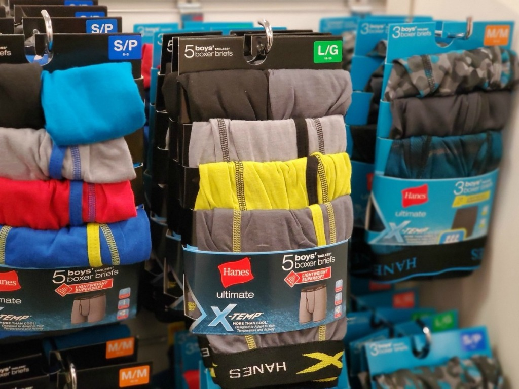 Boys Hanes boxer briefs in package on display at Kohl's