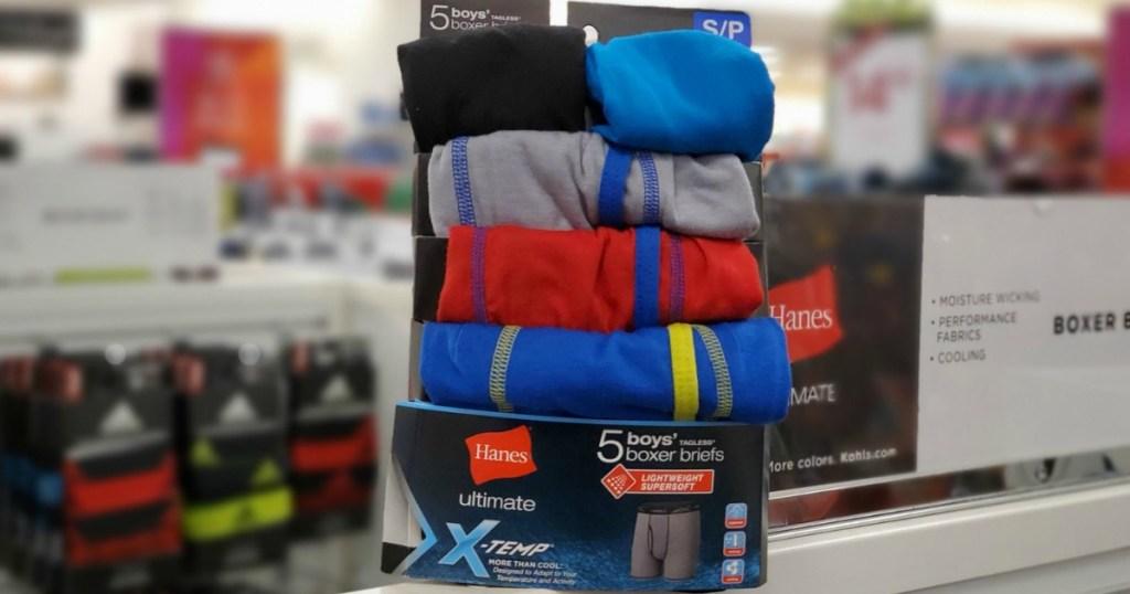Hanes Boys underwear in package at Kohl's