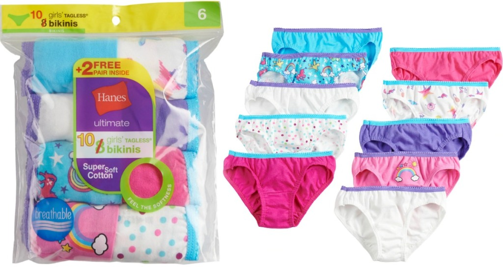 Hanes Girls Bikini Underwear in package and out